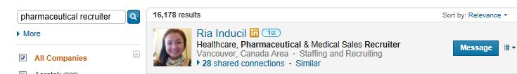Linkedin search result pharmaceutical recruiter